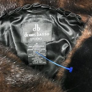 Dennis Basso faux fur 3/4 length hooded coat